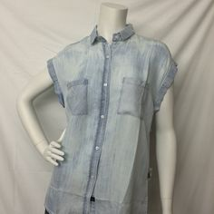 Rails- Washed Out Chambray Sleeveless Button Down -Suburban Casuals