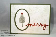 Liz Bailey Stampin' Up! Demonstrator - Stitched Shapes Framelits Dies - Fancy Frost Specialty DSP - Christmas Greeting Thinlits - Totally Trees