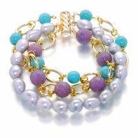 """Bracelet """"Plage de marseille"""" Taille des perles: 7-8mm; Perle forme: pomme de terre, perles 7-8mm; Ensemble: bleu howlite perle ronde 8mm 7 pièces, 10mm à facettes gris agate 6 pièces; Total des perles: 19 de 7-8mm perles de pommes de terre argent; Longueur: 20cm; Fermoir et tube de fermoir: plaqué or 18k laiton"""