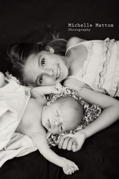 Baby Gianni and his big sis GiGi.  Newborn photography, black and white, brother and sister. https://www.facebook.com/michellemattoxphotography