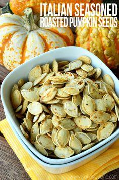 Don't waste those precious pumpkin seeds. make my simple recipe for Italian Seasoned Roasted Pumpkin Seeds! Fall Recipes, Holiday Recipes, Snack Recipes, Cooking Recipes, Healthy Recipes, Snacks, Pumpkin Seed Recipes, Roasted Pumpkin Seeds, Cooking Pumpkin
