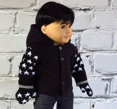 Boy Doll Black Fleece Hoodie with Mittens by SewFunDollClothes