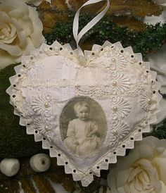 lace heart ornament with vintage photo transfer Valentine Crafts, Christmas Crafts, Valentines, Christmas Ornaments, Shabby Chic Crafts, Vintage Crafts, Lace Heart, Heart Art, Sewing Crafts