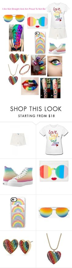 """""""Pride Month"""" by shirowland ❤ liked on Polyvore featuring M.i.h Jeans, Alice + Olivia, Casetify, Yves Saint Laurent, Betsey Johnson and Sydney Evan"""