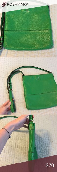 Kate Spade Southport Cora. Re-Posh. I don't carry this very often anymore so I'm re-poshing it. Green, pebbled leather. Photos show condition which is overall good. 10x10 with crossbody strap and interior pockets. Zipper closure. kate spade Bags Crossbody Bags