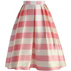 Chicwish Candy Pink Striped Midi Skirt (€41) ❤ liked on Polyvore featuring skirts, bottoms, pink, stripes, midi skirt, pink skirt, pink slip, pleated midi skirts, red flared skirt and flared midi skirt