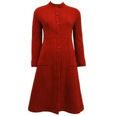 vintage nubby wool fleck | Vintage Sybilla Red/Orange Nubby Wool Coat at 1stdibs