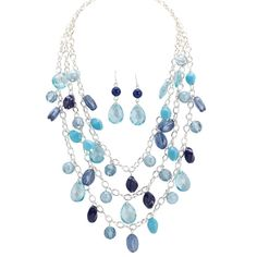 Women's Layered mixed bead necklace and earring set