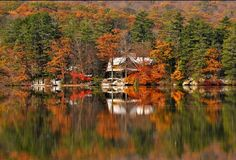 Winsted, Connecticut. An old historic small town full of natural beauty.  Highland Lake in Autumn.