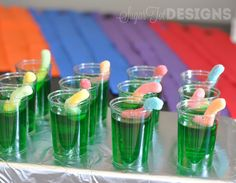 Teenage Mutant Ninja Turtle Party We also do a thing with sherbet and 7up (it's a punch drink) then we add the gummy worms. Kids love it!