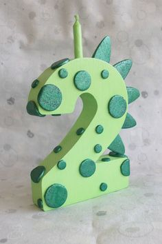 Green Dragon or Dinosaur Wooden Number Candle CHOOSE NUMBER on Etsy, $19.25