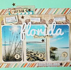 What a great way to capture those beautiful beaches while on vacation! #layout #scrapbook #travel More #scrapbooking