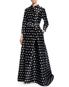 Carolina Herrera Polka-dot Silk Button-front Gown In Multi Pattern Cold Shoulder Gown, High Low Gown, Two Piece Gown, Ball Skirt, Draped Skirt, Gowns With Sleeves, Silk Charmeuse, Velvet Tops, Tulle Lace