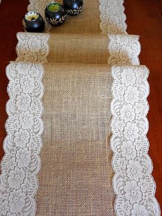 Items similar to Rustic chic Burlap table runner wedding table runner with vintage ivory Italian lace , handmade in the USA on Etsy