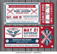 Set of vintage baseball tickets - stock vector