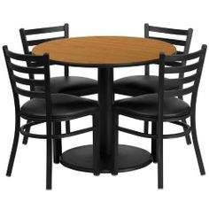 36'' Round Natural Laminate Table Set with 4 Ladder Back Metal Chairs - Black Vinyl Seat [RSRB1031-GG] by Belnick Inc. by Belnick Inc.. $324.79. 36'' Round Natural Laminate Table Set with 4 Ladder Back Metal Chairs - Black Vinyl Seat [RSRB1031-GG]. Save 47% Off!