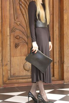 F/W 14/15 collection by #tatyZ :  Amani leather clutch with tassel #black dress