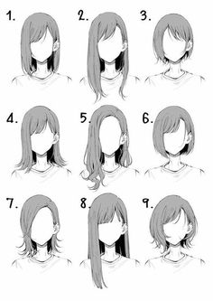 Hair Reference, Art Reference Poses, Drawing Reference, Character Reference, Drawing Hair Tutorial, Anime Drawing Tutorials, Manga Tutorial, Anatomy Tutorial, Pelo Anime