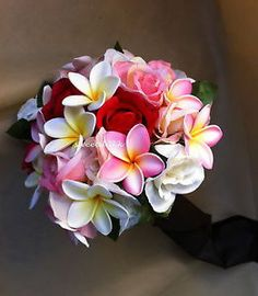 Artificial TROPICAL plumeria with red ROSE.pink ROSE WEDDING BOUQUET