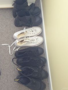I keep my most worn shoes lined up outside my wardrobe