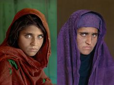 Sharbat Gula and her iconic National Geographic portriat, then and now. An interesting study in time.