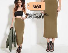 Falda verde larga- Forever 21 TALLA S