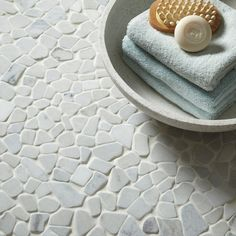 American Olean Genuine Stone Refined White Pebble Mosaic Marble Floor And Wall Tile