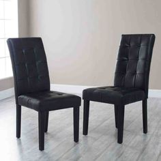 Finley Home Martha Bonded Leather Parsons Dining Chair - Set of Black, Wood Parsons Dining Chairs, Tufted Dining Chairs, Fabric Dining Chairs, Modern Dining Chairs, Dining Chair Set, Black Kitchen Chairs, Leather Dining Room Chairs, Kitchen Wood, Leather Chairs