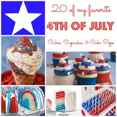 Get ready to celebrate the 4th of July with these fun and festive cake, cupcakes and cake pop ideas.