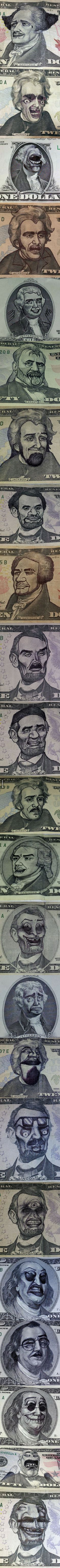 Dollar bills with funny faces