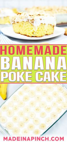 Banana Pudding Poke Cake is the perfect anytime dessert. It brings to mind the deliciousness of true Southern favorite and makes a lovely, cool, refreshing treat for a hot summer day! One thing I don't care for is a dry cake. UGH! It sticks to the roof of your mouth and feels like you're eating sawdust. Can you relate?That's why I love a good poke cake. There is nothing dry about it, and they are really fun to make too. | @made_in_a_pinch #bestbananacakerecipe #bananapokecake #howtomakepokecake No Bake Banana Pudding, Banana Pudding Poke Cake, Southern Banana Pudding, Homemade Banana Pudding, Poke Cake Recipes, Dessert Recipes, Yummy Recipes, Delicious Desserts, Yummy Food