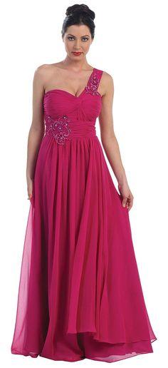 Floral Embellished One Shoulder Formal Dress