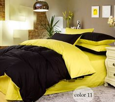 Yellow Black - Summer Reversible 4 Pc Queen OR King Duvet Set 100% Cotton