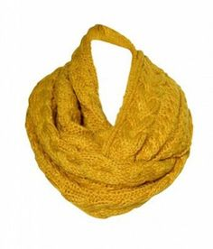 Anytime Scarf Chunky Knitted Infinity Loop Scarf Cable Pattern Mustard Yellow:Amazon:Clothing