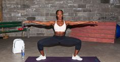 This plié squat is designed to work your glutes, quads, and hamstrings.
