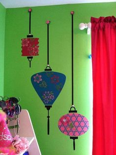 A dash of fun & color sprinkled on our Modello® Designs Japanese Lanterns is a recipe for a fantastic wall! A fab, happy project by artist Kathy Claudino.