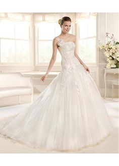 STUNNING TULLE SATIN ONE SHOULDER NECKLINE NATURAL WAISTLINE A-LINE WEDDING DRESS SEXY LADY LACE FORMAL PROM BRIDESSMAID