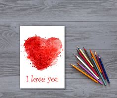 Valentine card Heart print Digital print by InstantDownloadArt1