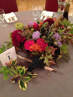 Fall flowers and concord grapes