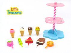 Little Treasures Sweet Treats store with 10 piece Desserts Ice Cream pretend and play cute playset toy -- This is an Amazon Affiliate link. Check out the image by visiting the link.