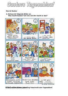 Gustavs Tagesablauf Handout, German Language Learning, Baseball Cards, Education, German Language, Personal Pronoun, Sequence Of Events, Learn German, School