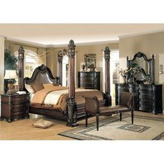 Amazon.com: Fabiana Poster Bedroom Set In Cappuccino Size: King: Home U0026