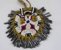 Apache (Arizona), Round Bag, beads/tin cones/leather, c. 1890.