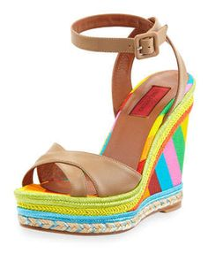 Multicolor Espadrille Wedge Sandal by Valentino at Neiman Marcus.