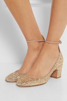 Heel measures approximately 60mm/ 2.5 inches  Gold glittered leather  Buckle-fastening ankle strap  Made in Italy
