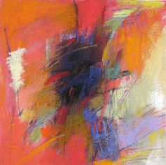 Untitled Red Abstraction, 11x11 inches, pastel