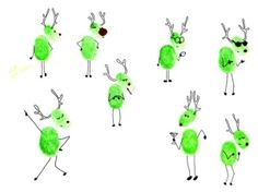 thumbprint reindeer by pam - such cute drawings, not sure why they're green