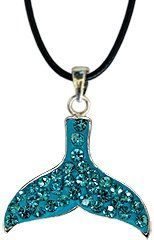 "Silver Whale Tail crystal Pendant - Aquamarine bling bling!! -necklace is adjustable size 16"" to 18.5"" with silver fittings -made with over 50 swarovski crystals - packed inside a lovely velvet pouch GlitZ JewelZ. $16.99. Save 53% Off!"
