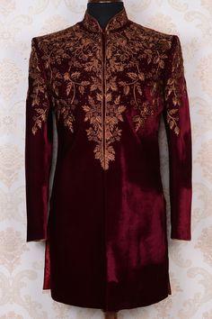 Buy Purple & antique gold pure velvet rich indo western sherwani Online