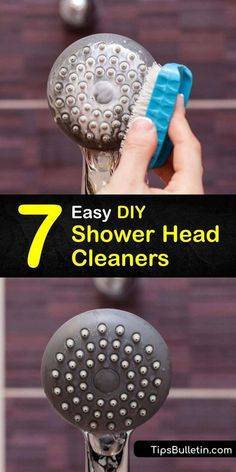 Learn how to clean your shower head to remove mineral buildup and grime and restore the water pressure. Clean away calcium and mineral deposits left behind from hard water by soaking the head in… More Bathroom Cleaning Hacks, House Cleaning Tips, Diy Cleaners, Household Cleaners, Remove Rust Stains, Natural Showers, Vinegar Cleaner, Hard Water Stains, Homemade Cleaning Products